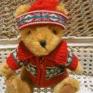 CHRISTMAS TEDDY BEAR IN ZIPPERED SWEATER *NEW* *SO CUTE**