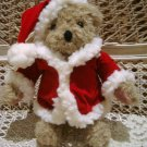 ADORABLE CHRISTMAS TEDDY BEAR IN RED HOLIDAY COAT   **NEW*** *SO CUTE**