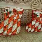 AWESOME SET OF 2 DEPT 56 CHRISTMAS STOCKING SEQUIN TRINKET BOXES