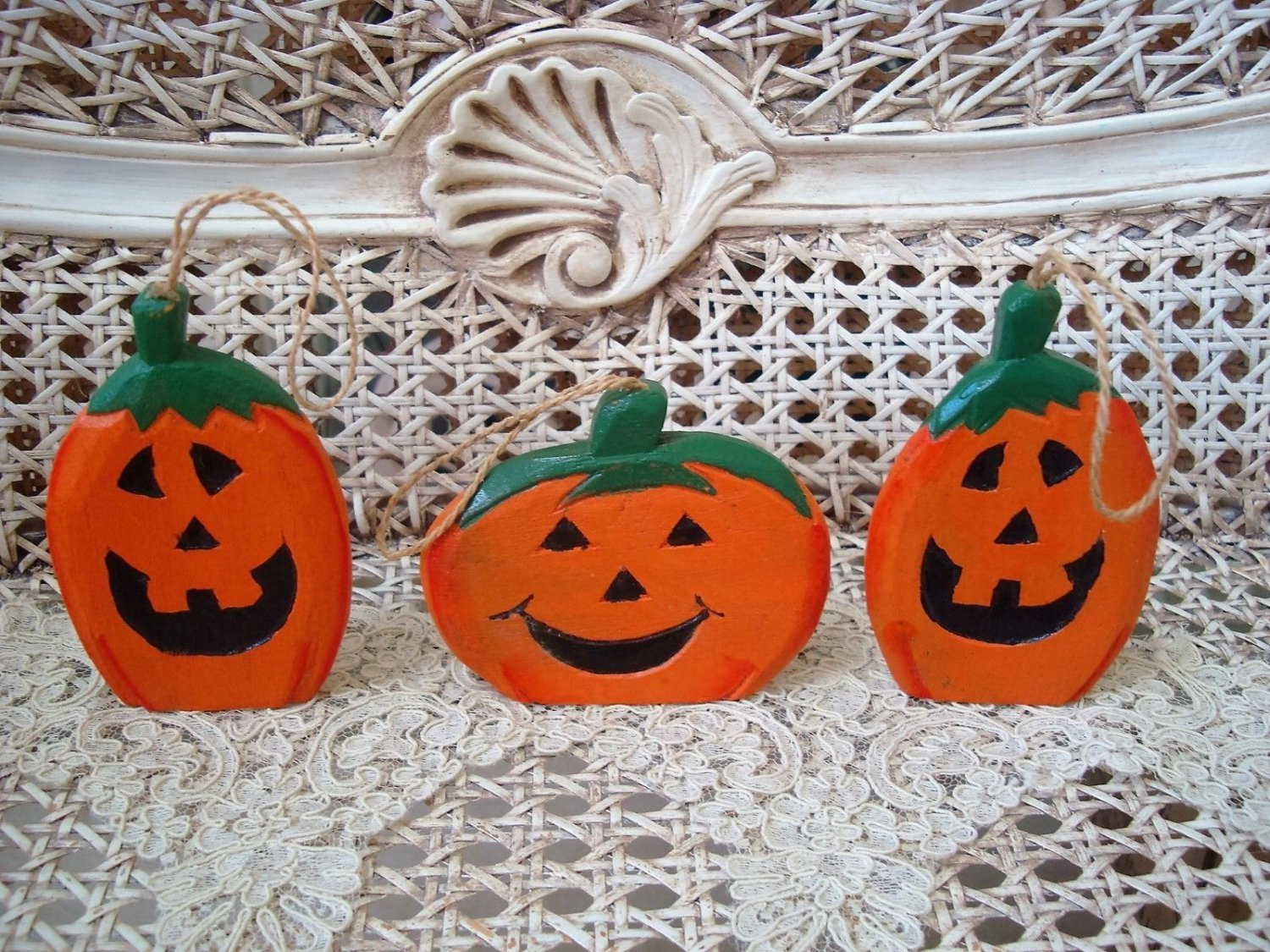 3 ADORABLE PUMPKIN JACK O'LANTERN HALLOWEEN ORNAMENTS ***SO CUTE***