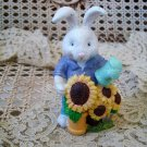 EASTER BUNNY FIGURINE WITH SUNFLOWERS & WATERING CAN ***SO CUTE***