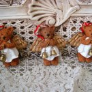 HOLLY BEARIES 3 RETIRED CHRISTMAS ANGEL BEARS CHRISTMAS ORNAMENTS ***NEW***