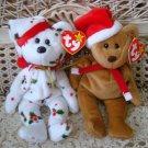 TWO TY CHRISTMAS BEANIE BEARS SANTA BEAR & BEAR WITH HOLLY CHRISTMAS *NEW*