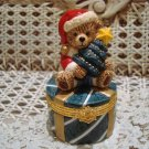 BEAUTIFUL TEDDY BEAR WITH CHRISTMAS TREE HINGED BOX *NEW*