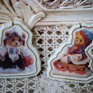 2 ADORABLE CHERISHED TEDDIES TEDDY BEAR PORCELAIN CHRISTMAS ORNAMENTS  ***NEW***