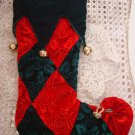 WHIMSICAL CHIC RED & GREEN CHRISTMAS STOCKING WITH ROSES & JINGLE BELLS *NEW*