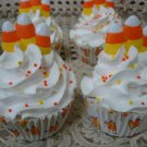 ADORABLE FAKE FAUX HALLOWEEN CUPCAKE WITH CANDY CORN *GREAT DISPLAY ITEM*