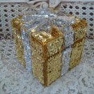 GORGEOUS GOLD & SILVER PRESENT SPARKLING  CHRISTMAS SEQUIN TRINKET BOX **PRETTY*