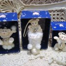 SNOW BEARIES 3 RETIRED ADORABLE BEARS CHRISTMAS ORNAMENTS **NEW**