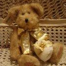 "ELEGANT RETIRED HALLMARK 12"" BEAR CHRISTMAS WITH GOLD HOLLY & MUFF **SO CUTE**"