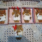 HOLLY BEARIES 5 RETIRED CHRISTMAS ANGEL BEARS IN DRESSES CHRISTMAS ORNAMENTS