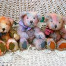 "RUSS BERRIE SET OF 3 MAYBERRY 10"" TALL PRETTY RAINBOW COLORED BEARS **SO CUTE**"