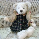 """RUSS BERRIE COSETTE 16"""" BEAR IN SWEATER WITH BABY BEAR **SO CUTE*** NEW"""