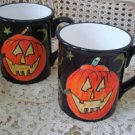 SUSAN WINGET SET OF 2 HALLOWEEN CERAMIC PUMPKIN JACK O'LANTERN MUGS
