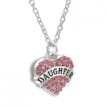 Daughter Silver  Clear Pink Crystal Heart Necklace