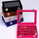 24 Grid Earrings Showcase Container Colorful Cover Jewelry Earrings Collecting Storage Box