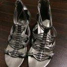 New Audrey Brooke Sophia Pewter Gladiator Wedge Sandals 8.5M