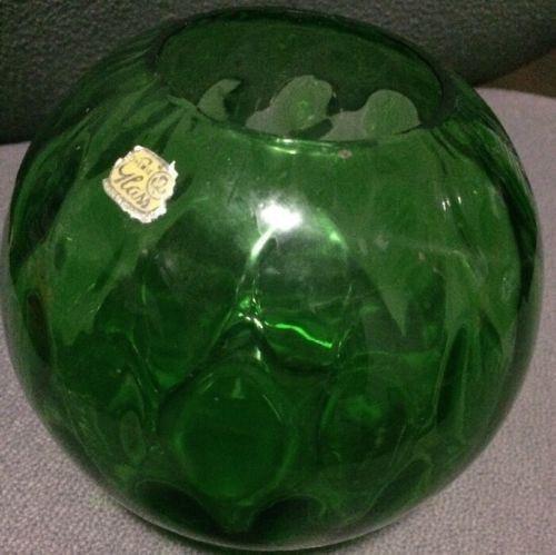 Bohemian Antique Glass Round Bowl Vase Emerald Green