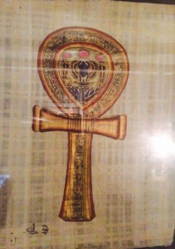 Egyptian Hand-painted Papyrus - Ankh (Key of Life)