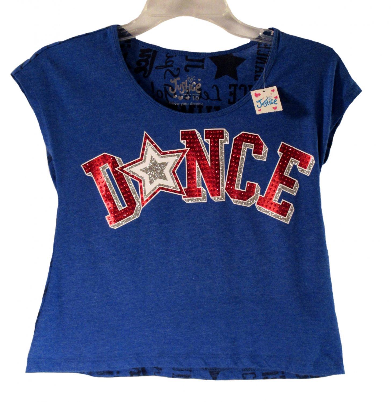 Justice Girls Blue Dance Sport Short Sleeve Crop Top Size 10