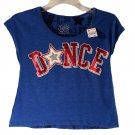 Justice Girls Blue Dance Sport Short Sleeve Crop Top Size 10