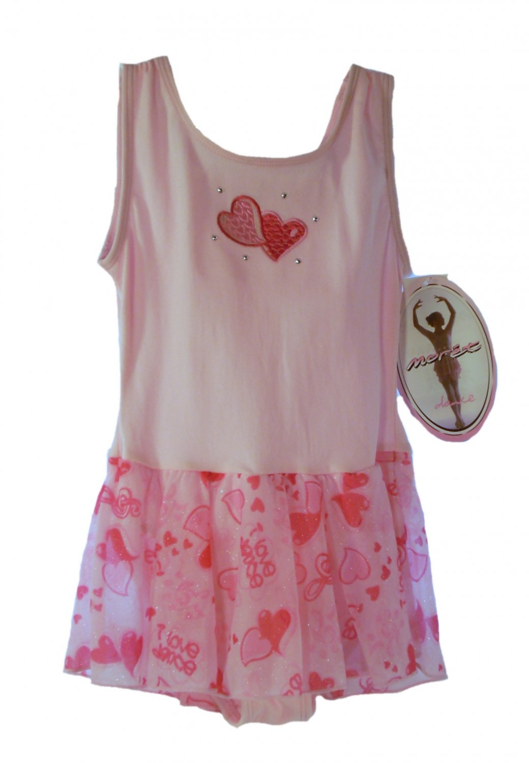 Jacques Moret Dance Girl's Pink Heart Tank Skirted Leotard X-Small