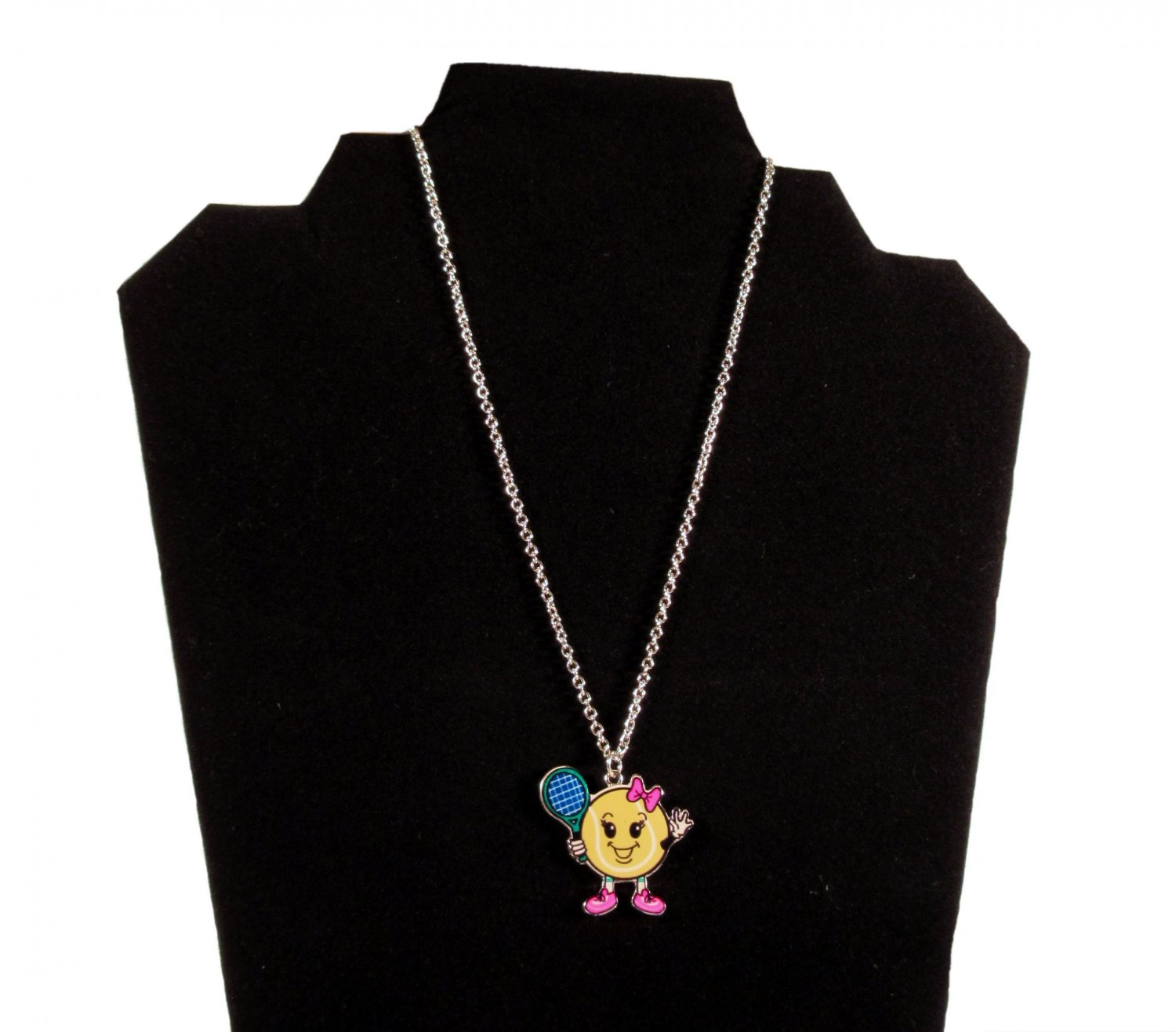 Justice Girls Tennis Ball Sport Figure Charm Fashion Necklace