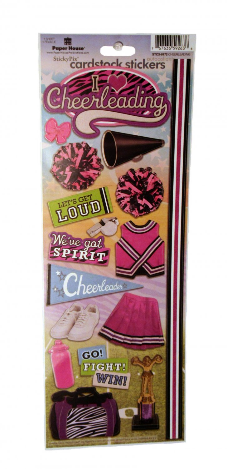 Paper House StickyPix Scrapbook Cardstock Stickers Cheerleading STCX-0172