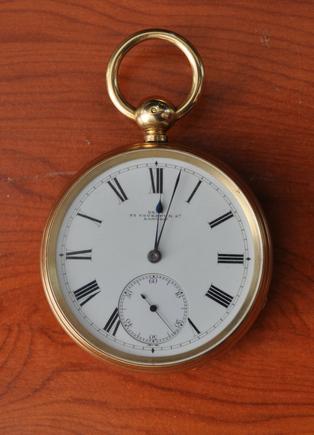 1875 London 18ct gold open face chronometer pocket watch by M.F. Dent in working order.