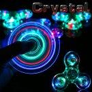 New Crystal LED Hand Fidget Clear Flash Light EDC Finger Tri Spinner For Autism