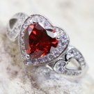 Heart shape Red or White Italian zircon ring