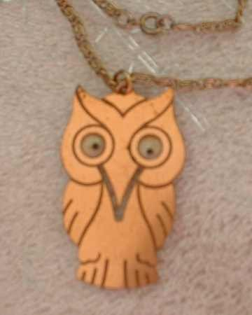 Copper Owl Pendant Necklace Moving Eyes