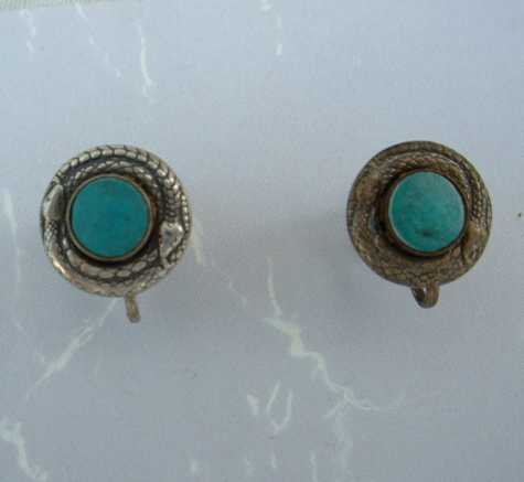 Coiled Snake Turquoise Screw Style Earrings Vintage Serpents