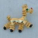 Poodle Dog Pin Goldtone Black Enamel Green Rhinestone Eye Jewelry