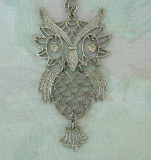 Articulated Owl Pendant Necklace Rhinestone Eyes Large Fun Jewelry