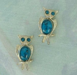 Pair Two Owl Pins Faux Turquoise Belly Eyes Goldtone