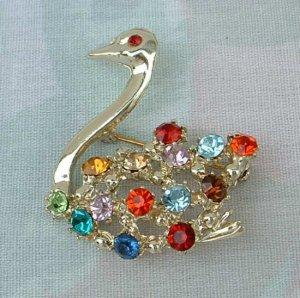 Swan Pin Brooch Multi-Color Rhinestones Red Blue Green Topaz Bird
