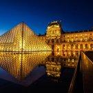 Louvre Museum At Night Art 32x24 Poster Decor