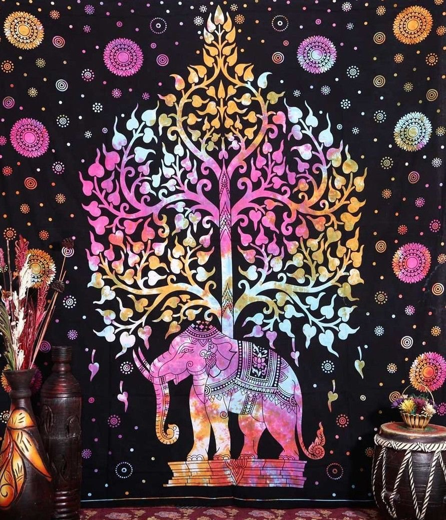 Elephant Mandala Tree Art 32x24 Poster Decor