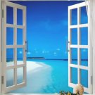 Window Beach Landscape Home Decor Art 32x24 Poster Decor