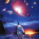 Dolphin Cosmic Planetary Space Art 32x24 Poster Decor