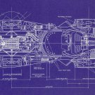 Blueprint Batman Batmobile Top View Art 32x24 Poster Decor