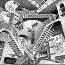 M C Escher Optical Illusion Drawing Art 32x24 Poster Decor
