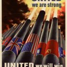 Wwii United We Are Strong War Propoganda Poster Art Print 32x24