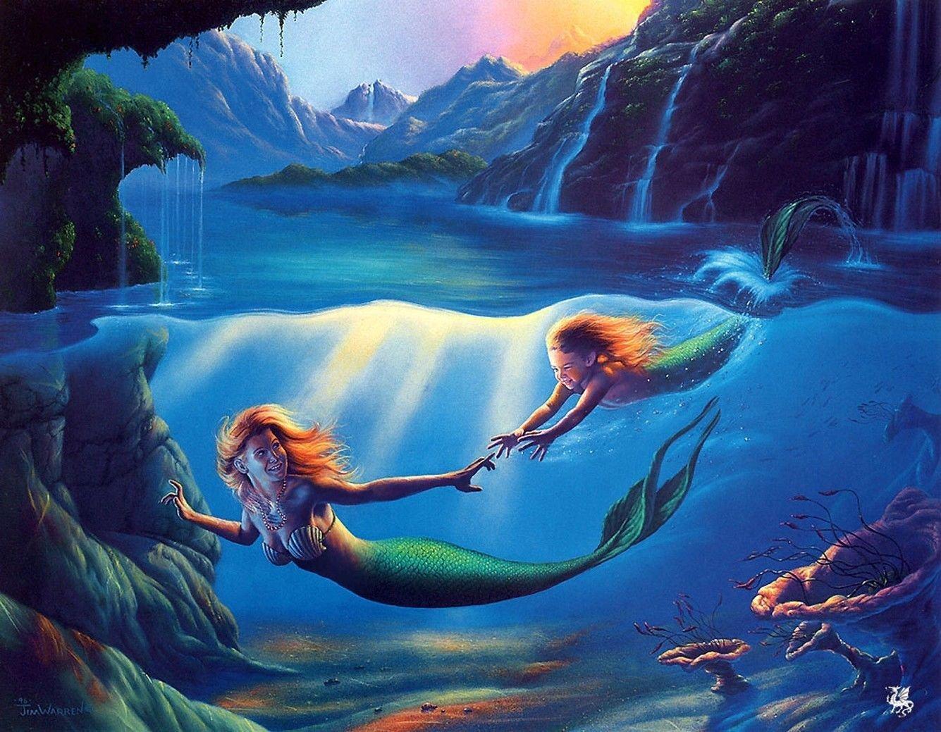 Mermaid Oil Art 32x24 Poster Decor