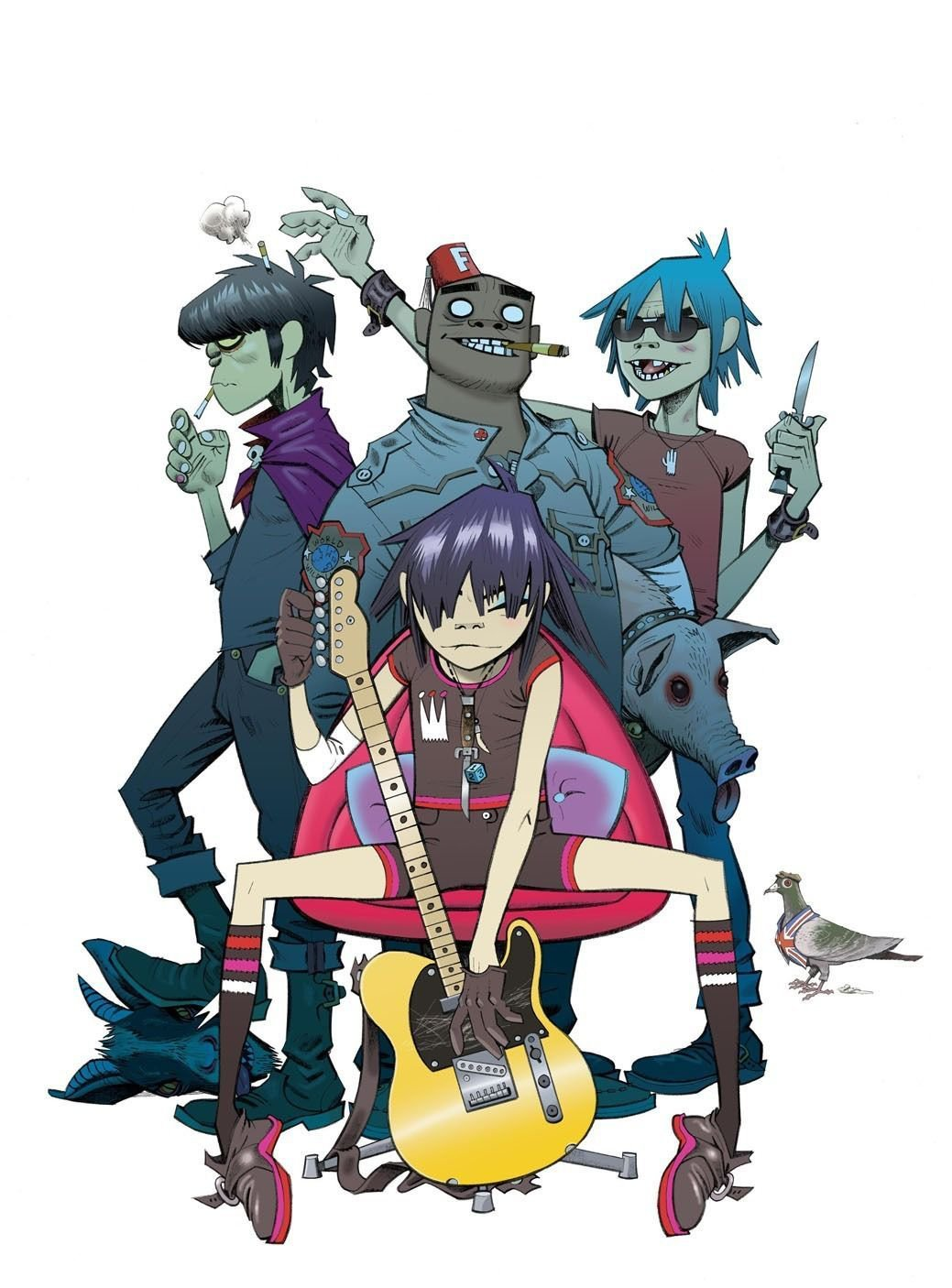 Gorillaz Music Band Group Art 32x24 Poster Decor