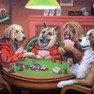 Dogs Playing Poker Vintage Wall Print POSTER Decor 32x24