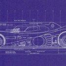 Blueprint Batman Batmobile Top View Wall Print POSTER Decor 32x24