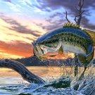 Bass Fishing Lake Sunset Painting Wall Print POSTER Decor 32x24