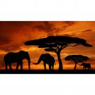 Africa Sunset Elephant Animals Nature Art Poster 32x24